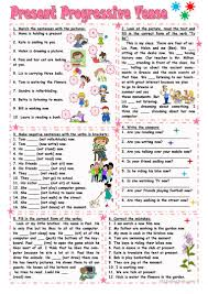 present progressive tense worksheet free esl printable