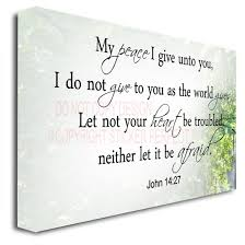 Home Decor Sayings by Framed Canvas Print My Peace I Give Unto You I Do Not Give To You