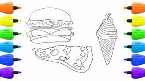 how to draw cheeseburger pizza ice cream coloring pages food
