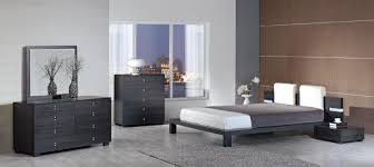 Black Wood Bedroom Furniture Sets Dark Grey Wooden Bed With White Leather Headboard Next To Bedside