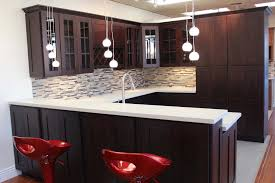 cabinet with beautiful glass decal dark walnut kitchen wall
