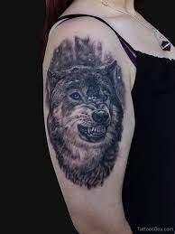 blue eyes scary half sleeve wolf face tattoo on shoulder golfian com