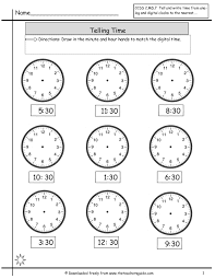 telling time half hour telling time worksheets from the s guide
