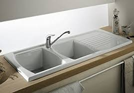 LUNA CERAMIC  BOWL AND DRAINER KITCHEN SINK WHITE Amazoncouk - Ceramic kitchen sinks uk