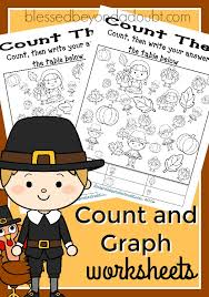 free count and graph worksheets thanksgiving edition blessed