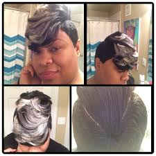27 piece black hair style 27 piece quick weave short cut with jet black grey and platinum