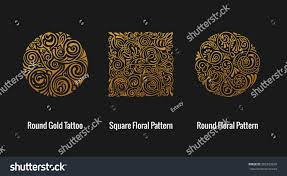round calligraphic royal gold emblem set stock vector 582283036