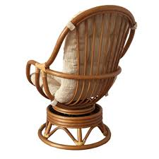 Rattan Swivel Rocker Chair Swivel Rocking Chair Erick Color Light Brown With Cushion