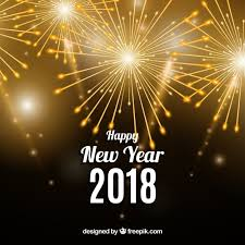 happy new year 2018 background with golden fireworks vector free