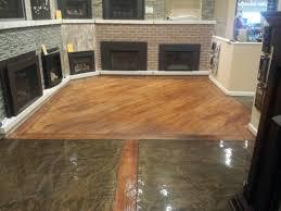 metallic epoxy and wood concrete showroom floor rochester