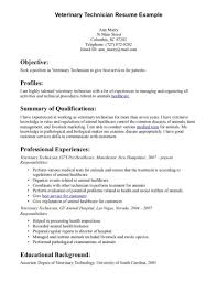 Example Technical Resume by Veterinary Assistant Resume Samples And Veterinary Technician