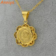 coin pendant necklace jewelry images Anniyo coin pendant necklace for women gold color jewelry sudan jpg
