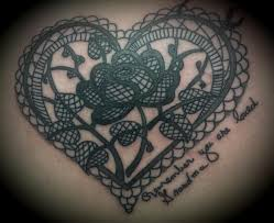 lace tattoo heart and rose lace tattoo tattoos pinterest