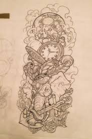 tattoo sleeve london elephant anchor time clock tattoo tattoos pinterest time
