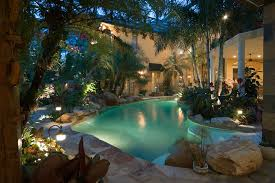 tropical landscape pool tropical with palm trees indoor pool