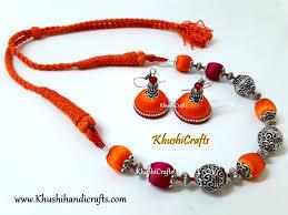 orange beads necklace images Buy pink and orange silk and german silver beads amalgamated jpg