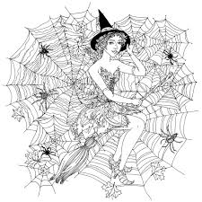 halloween witch in spider web by mashabr halloween coloring