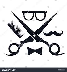 barbershop logo scissors mustache comb barbershop stock vector