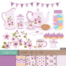 shabby chic tea time digital clipart shabby chic papers tea