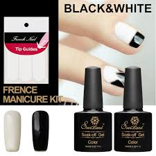 saviland 2pcs 10ml nail art black white uv gel nail polish soak