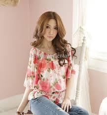 elastic waist blouse 2018 floral scoop neck sleev elastic waist thin blouse