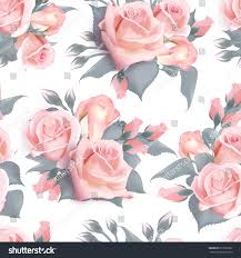 english roses seamless pattern pink vintage stock vector 610730621