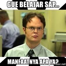 Sap Memes - gue belajar sap manfaatnya apa ya dwight from the office