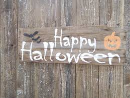 barn wood happy halloween sign october pumpkin bats jack