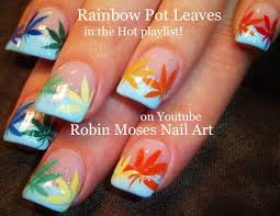 diy marijuana manicure nail art tutorial coachella rainbow pot