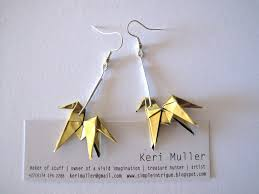 origami earrings origami earrings from gold paper simple intrigue