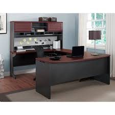 white and brown solid wood work station table in u shaped style