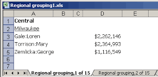 specifying that groups are exported to separate excel worksheets