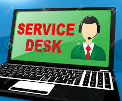 Laptop Help Desk Service Desk Laptop Means Support Assistance 3d Illustration Stock