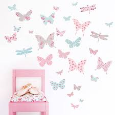 wall art stickers and decals notonthehighstreet com children s butterfly fabric wall stickers