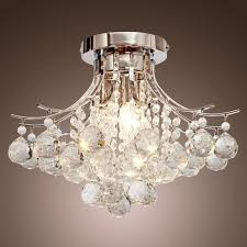 locochrome finish crystal chandelier with 3 lights mini style flush mount ceiling light fixture for study room office dining room bedroom