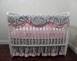 Gray And Pink Crib Bedding Baby Crib Bedding Set Alaina Bumper Free Baby Bedding
