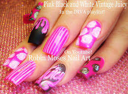 pink long nail art design vintage diva nails with roses and