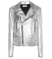 classic motorcycle jacket saint laurent classic l01 leather biker jacket argent lame silver