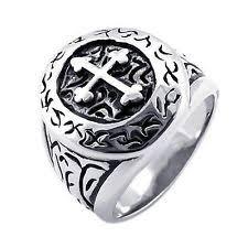 mens stainless steel rings mens cross ring ebay