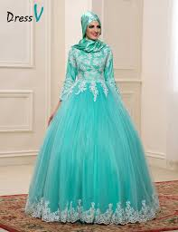 turquoise wedding dresses 2017 muslim wedding dresses with high neck 3 4 sleeves mint