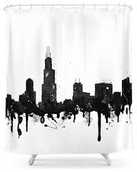 society6 watercolor chicago skyline shower curtain contemporary