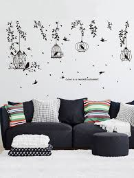 living room wall stickers 2018 willow branches birds and birdcages patterned decorative wall