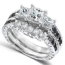 black diamond wedding set black and white diamond wedding set 1 3 5 carats ctw in 14k