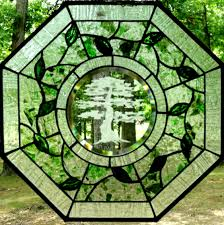 octagon stained glass window sandblasted pieces