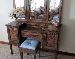 Vanity Table With Tri Fold Mirror Tri Fold Mirror Vanity Makeup Table 1800s Hand Painted Antique