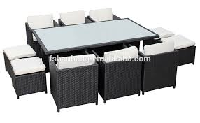 6 Seat Patio Table And Chairs Outdoor Garden Patio 9 Resin Wicker Dining Cube Table Chair