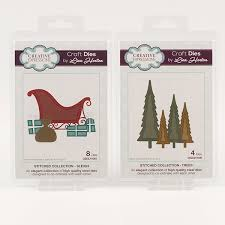 creative expressions stitched die collection sleigh trees