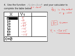 complete the table calculator function notation and linear functions ppt video online download