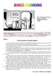 binge drinking a cartoon a written comprehension exercises