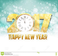 merry and happy new year 2017 background with clock stock